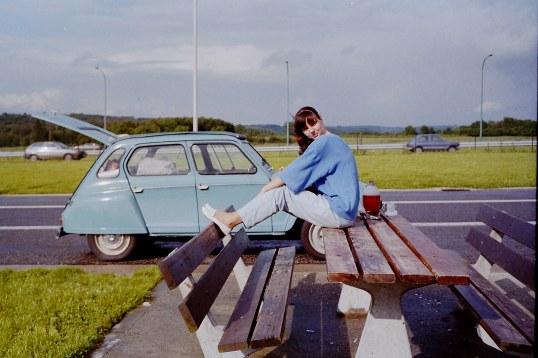 fotomodel langs de Route du Soleil 1987